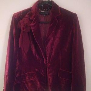 Anne Klein Suit Red Velvet Suit Size 4P